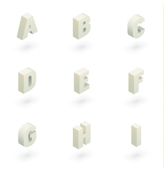 Isometric letters a to i vector image vector image