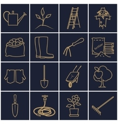 Line gold icons gardening equipment vector