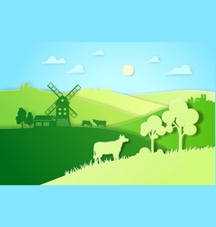 paper design fields and meadow eco vector image vector image