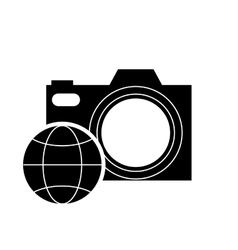 Photographic camera and earth globe diagram icon vector