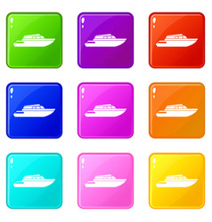 Planing powerboat icons 9 set vector