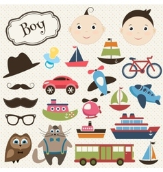 Scrapbook boy set with transport vector