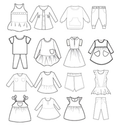 skethch baby and children clothes vector image