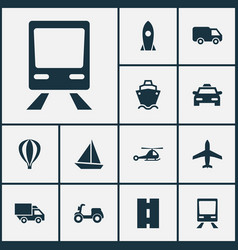 Transport icons set collection of chopper way vector