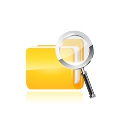 Yellow folder icon and magnifying glass vector image