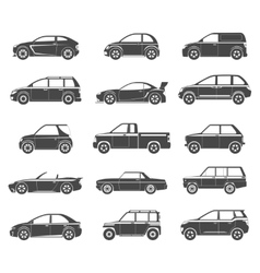 Car icons black vector