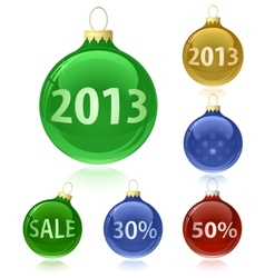 Christmas balls with sale tags - 2013 vector
