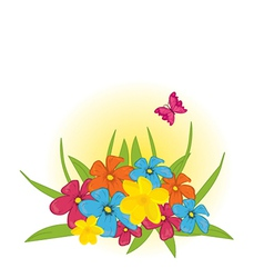 Flower bed with butterfly vector