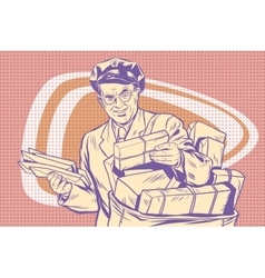 Retro postman delivering letters vector