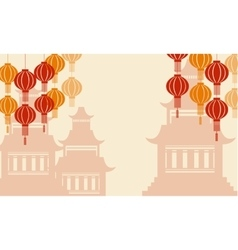 Background of pavilion and lanterns vector