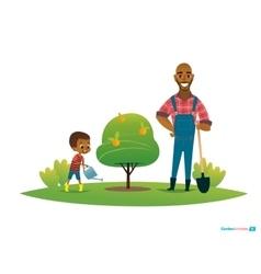 Dad and son in fruit garden boy in gumboots water vector