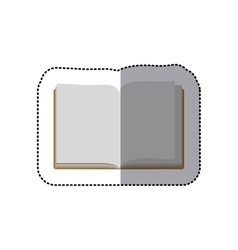 Middle shadow color sticker with open book vector
