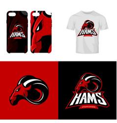Red ram head sport club isolated logo vector