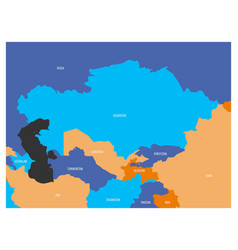 Map of central asia region with flat map in four vector