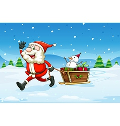 A cheerful santa with a wooden sleigh vector
