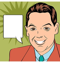 Smiling businessman pop art style vector