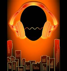 music city in orange mood vector image