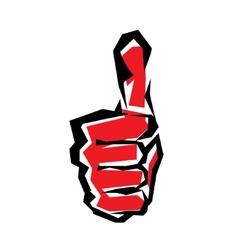 thumb up stylized symbol vector image