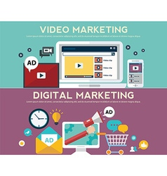 Concepts for video marketing digital marketing vector