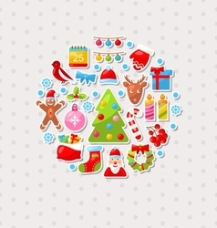 Merry christmas celebration card with traditional vector