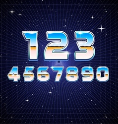 80s retro sci-fi numbers vector