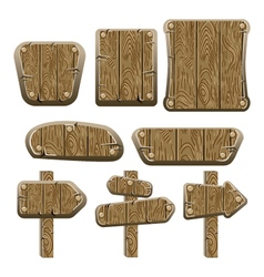 A set of wooden boards panels and signs-2 vector image