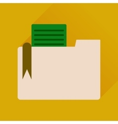 Flat icon with long shadow folder documents vector