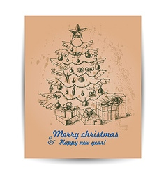 Card with christmas tree in the middle vector