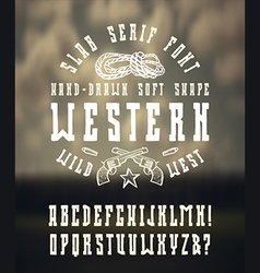 Serif font in the western style hand drawn vector