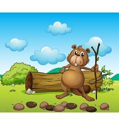 A beaver with a log vector