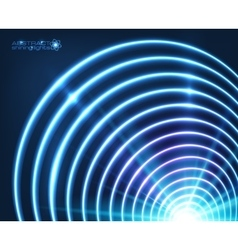 Blue shining concentric circles abstract vector