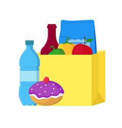 cartoon food paper bag vector image vector image
