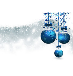 christmas background with blue baubles vector image vector image