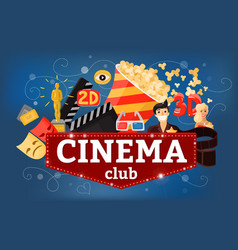 Cinema theatre club background vector