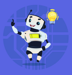 Cute robot happy smiling having new idea modern vector