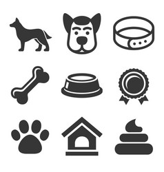 Dog icons set on white background vector