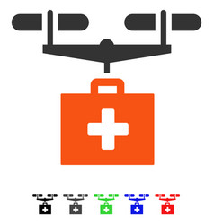 Drug drone delivery flat icon vector