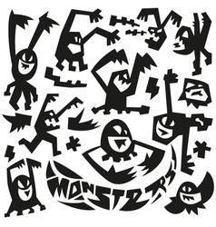 Evil monsters - doodles vector
