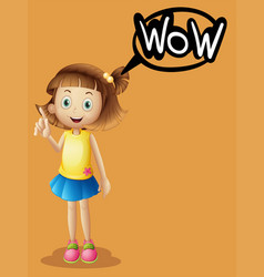 Girl and word expression on orange background vector