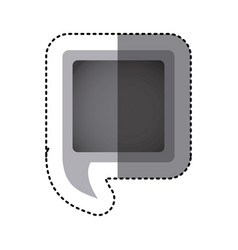 Grayscale sticker of square speech with tail vector