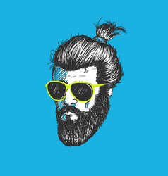 head of modern hipster vector image vector image