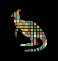 kangaroo marsupial mammal color silhouette animal vector image