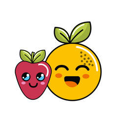 kawaii happy orange and strawberry icon vector image vector image