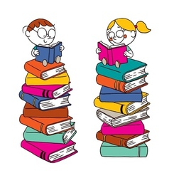 Kids reading on a big pile of books vector