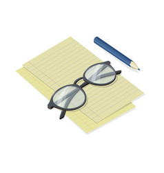 Notepad sheets with folded glasses and pen vector