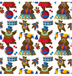 seamless background with circus bears vector image vector image