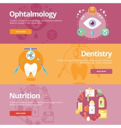 Set of flat design concepts for ophtalmology vector