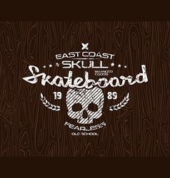 Skateboard skull emblem vector