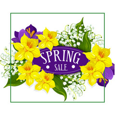 Spring holiday sale poster flowers bouquet vector