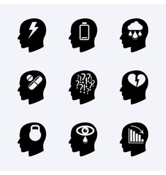 Stress and depression icon set vector image vector image